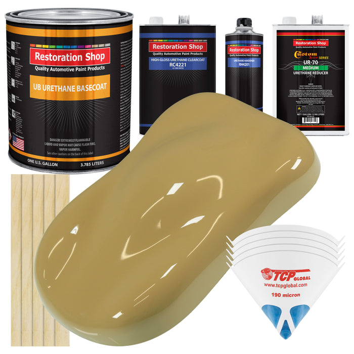 Buckskin Tan - Urethane Basecoat with Clearcoat Auto Paint - Complete Medium Gallon Paint Kit - Professional High Gloss Automotive, Car, Truck Coating