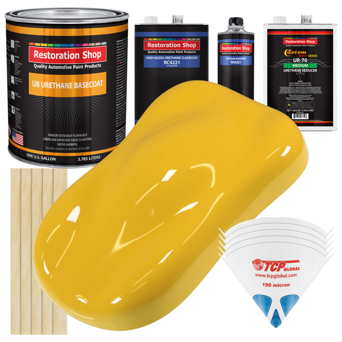Boss Yellow - Urethane Basecoat with Clearcoat Auto Paint - Complete Medium Gallon Paint Kit - Professional High Gloss Automotive, Car, Truck Coating