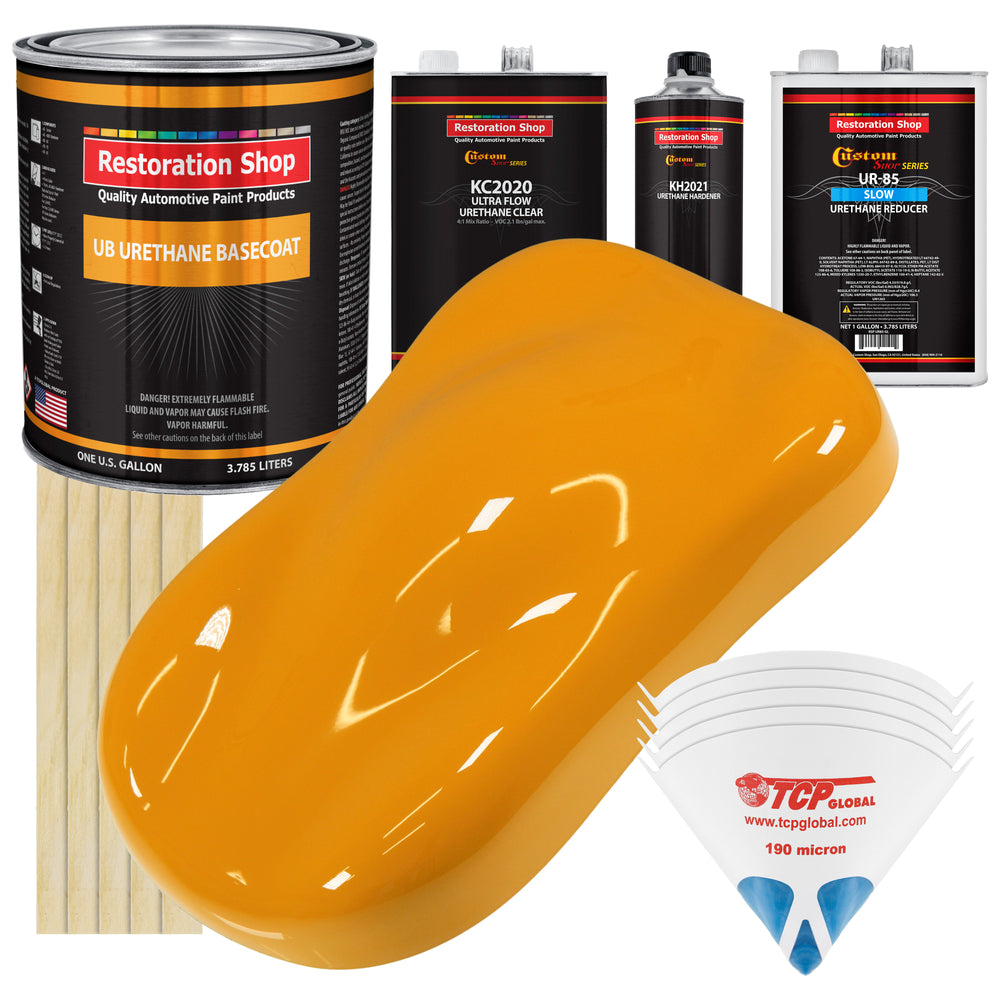 School Bus Yellow - Urethane Basecoat with Premium Clearcoat Auto Paint - Complete Slow Gallon Paint Kit - Professional High Gloss Automotive Coating
