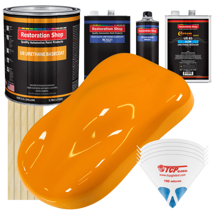 Speed Yellow - Urethane Basecoat with Clearcoat Auto Paint - Complete Slow Gallon Paint Kit - Professional High Gloss Automotive, Car, Truck Coating