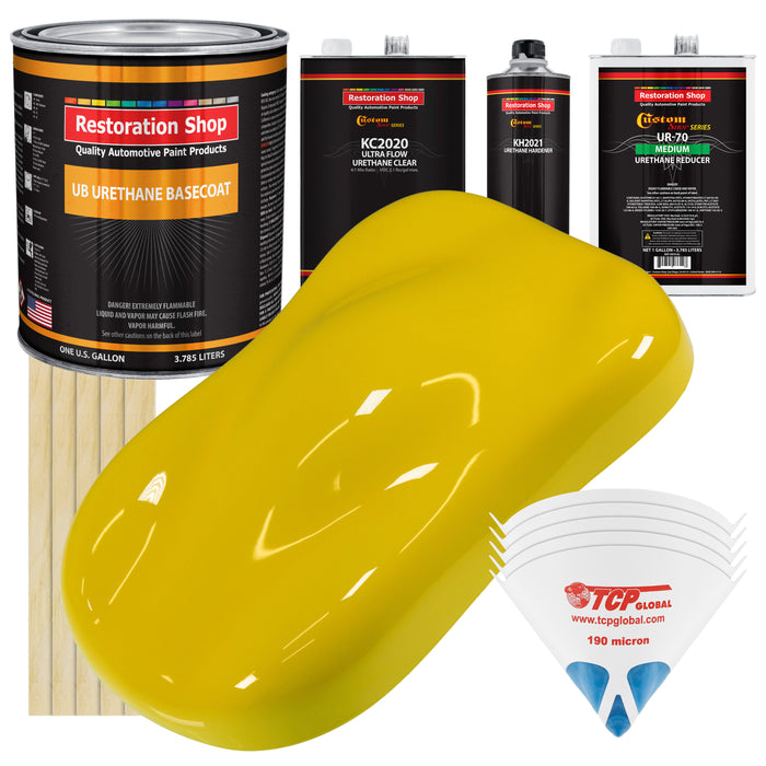 Electric Yellow - Urethane Basecoat with Premium Clearcoat Auto Paint - Complete Medium Gallon Paint Kit - Professional High Gloss Automotive Coating
