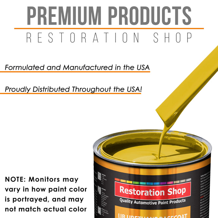 Electric Yellow - Urethane Basecoat with Clearcoat Auto Paint - Complete Medium Gallon Paint Kit - Professional High Gloss Automotive, Car, Truck Coating