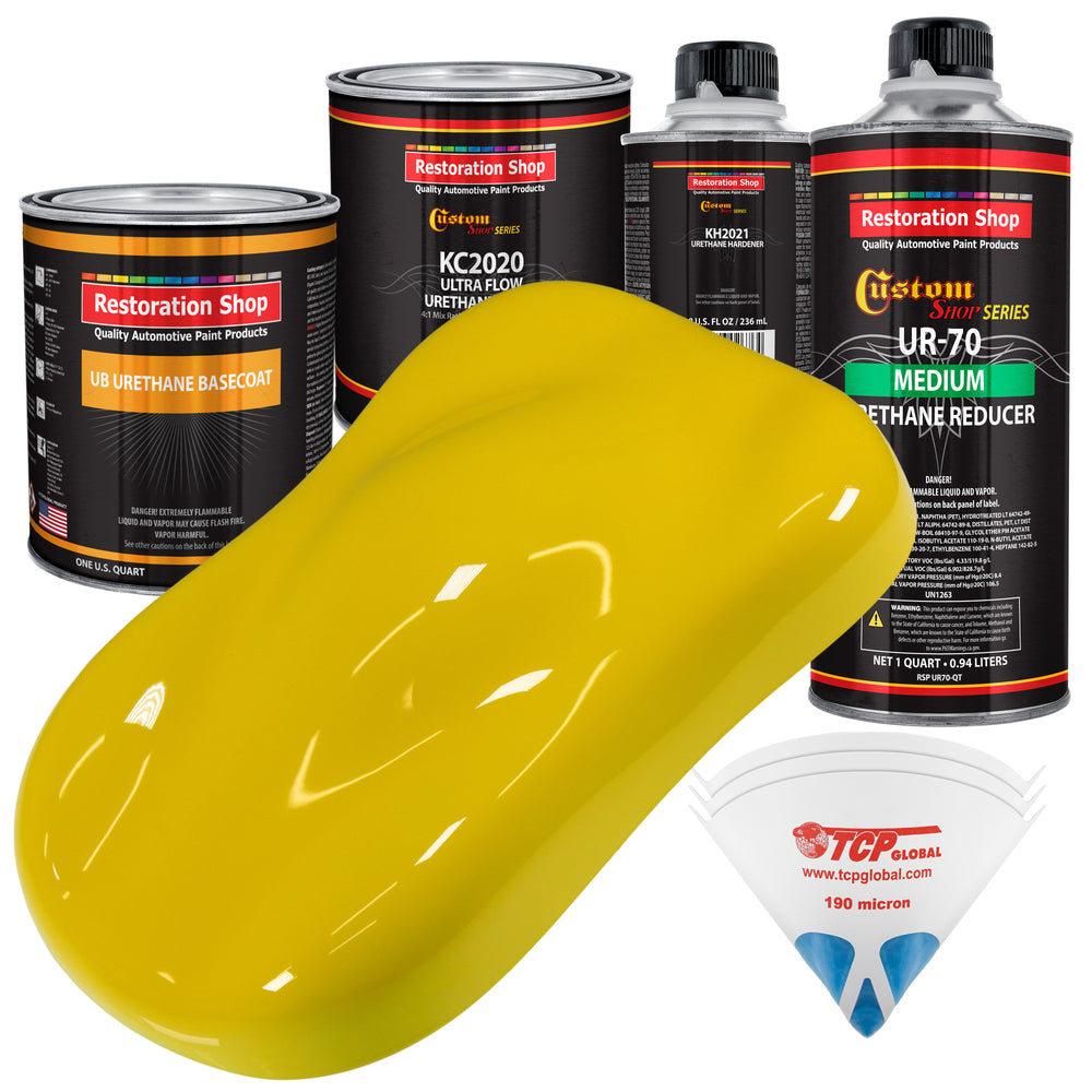 Electric Yellow - Urethane Basecoat with Premium Clearcoat Auto Paint - Complete Medium Quart Paint Kit - Professional High Gloss Automotive Coating