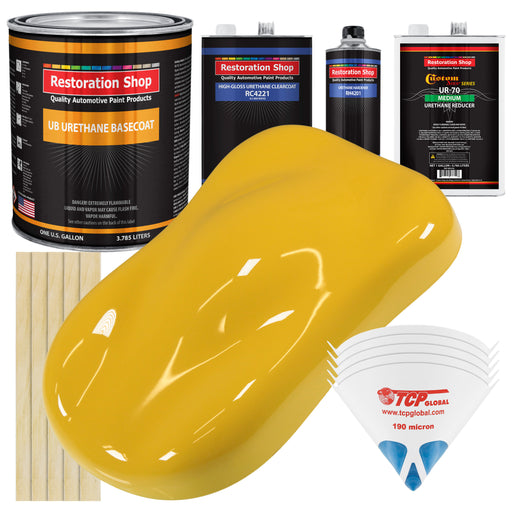 Canary Yellow - Urethane Basecoat with Clearcoat Auto Paint - Complete Medium Gallon Paint Kit - Professional High Gloss Automotive, Car, Truck Coating