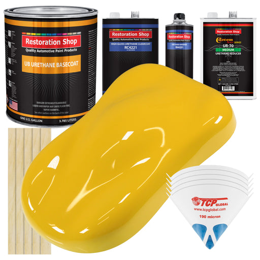 Indy Yellow - Urethane Basecoat with Clearcoat Auto Paint - Complete Medium Gallon Paint Kit - Professional High Gloss Automotive, Car, Truck Coating
