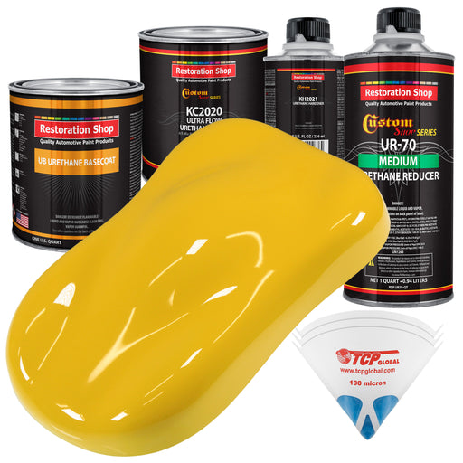 Indy Yellow - Urethane Basecoat with Premium Clearcoat Auto Paint - Complete Medium Quart Paint Kit - Professional High Gloss Automotive Coating