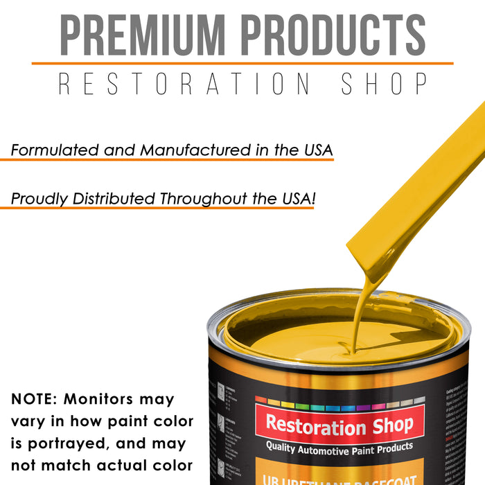 Indy Yellow - Urethane Basecoat with Premium Clearcoat Auto Paint - Complete Slow Gallon Paint Kit - Professional High Gloss Automotive Coating