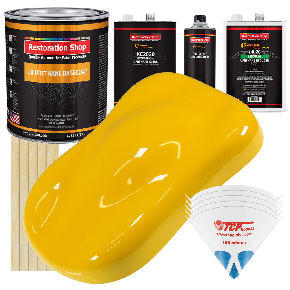 Viper Yellow - Urethane Basecoat with Premium Clearcoat Auto Paint - Complete Medium Gallon Paint Kit - Professional High Gloss Automotive Coating