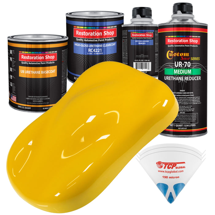 Viper Yellow - Urethane Basecoat with Clearcoat Auto Paint - Complete Medium Quart Paint Kit - Professional High Gloss Automotive, Car, Truck Coating