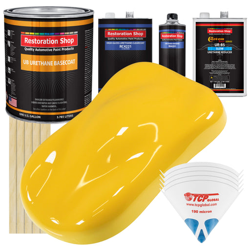 Sunshine Yellow - Urethane Basecoat with Clearcoat Auto Paint - Complete Slow Gallon Paint Kit - Professional High Gloss Automotive, Car, Truck Coating