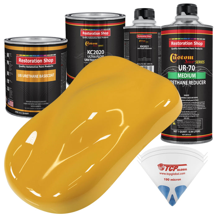 Citrus Yellow - Urethane Basecoat with Premium Clearcoat Auto Paint - Complete Medium Quart Paint Kit - Professional High Gloss Automotive Coating