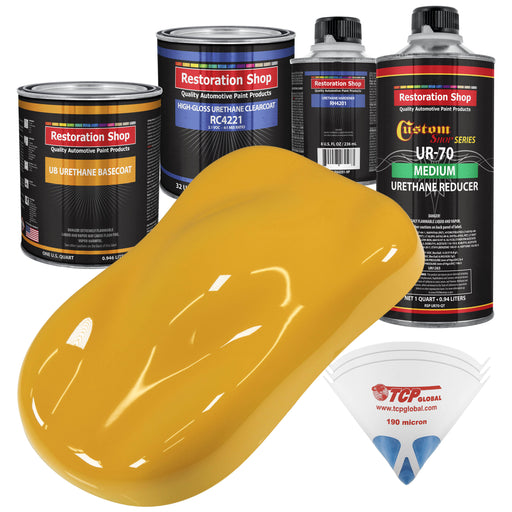 Citrus Yellow - Urethane Basecoat with Clearcoat Auto Paint - Complete Medium Quart Paint Kit - Professional High Gloss Automotive, Car, Truck Coating