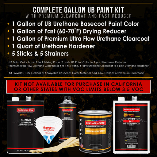 Medium Blue - Urethane Basecoat with Premium Clearcoat Auto Paint - Complete Fast Gallon Paint Kit - Professional High Gloss Automotive Coating