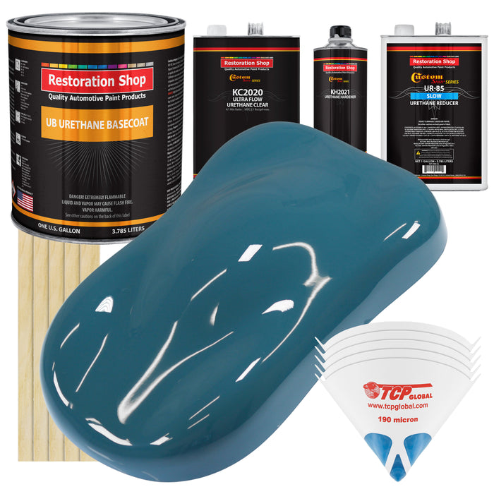 Medium Blue - Urethane Basecoat with Premium Clearcoat Auto Paint - Complete Slow Gallon Paint Kit - Professional High Gloss Automotive Coating