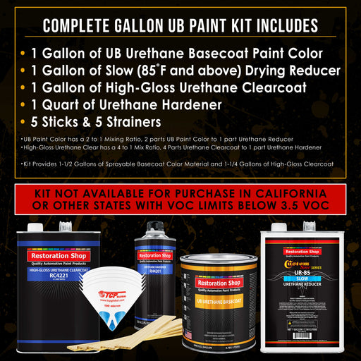 Medium Blue - Urethane Basecoat with Clearcoat Auto Paint - Complete Slow Gallon Paint Kit - Professional High Gloss Automotive, Car, Truck Coating