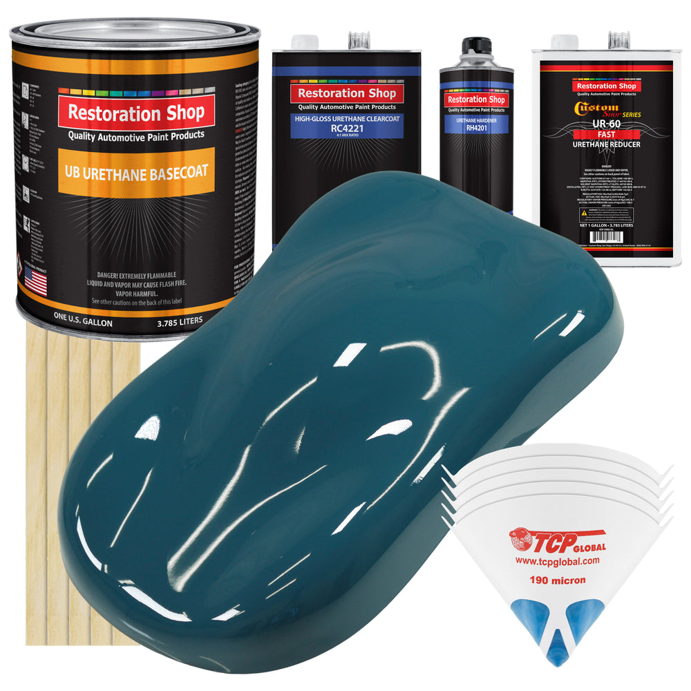 Transport Blue - Urethane Basecoat with Clearcoat Auto Paint - Complete Fast Gallon Paint Kit - Professional High Gloss Automotive, Car, Truck Coating