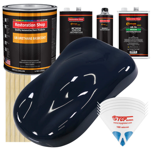 Midnight Blue - Urethane Basecoat with Premium Clearcoat Auto Paint - Complete Medium Gallon Paint Kit - Professional High Gloss Automotive Coating