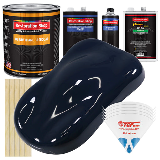 Midnight Blue - Urethane Basecoat with Clearcoat Auto Paint - Complete Medium Gallon Paint Kit - Professional High Gloss Automotive, Car, Truck Coating
