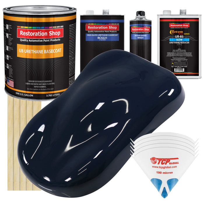 Midnight Blue - Urethane Basecoat with Clearcoat Auto Paint - Complete Slow Gallon Paint Kit - Professional High Gloss Automotive, Car, Truck Coating