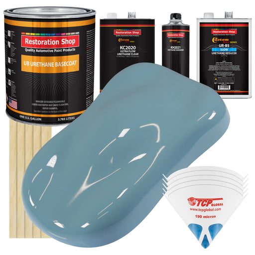 Glacier Blue - Urethane Basecoat with Premium Clearcoat Auto Paint - Complete Slow Gallon Paint Kit - Professional High Gloss Automotive Coating