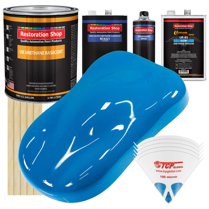 Speed Blue - Urethane Basecoat with Clearcoat Auto Paint - Complete Slow Gallon Paint Kit - Professional High Gloss Automotive, Car, Truck Coating