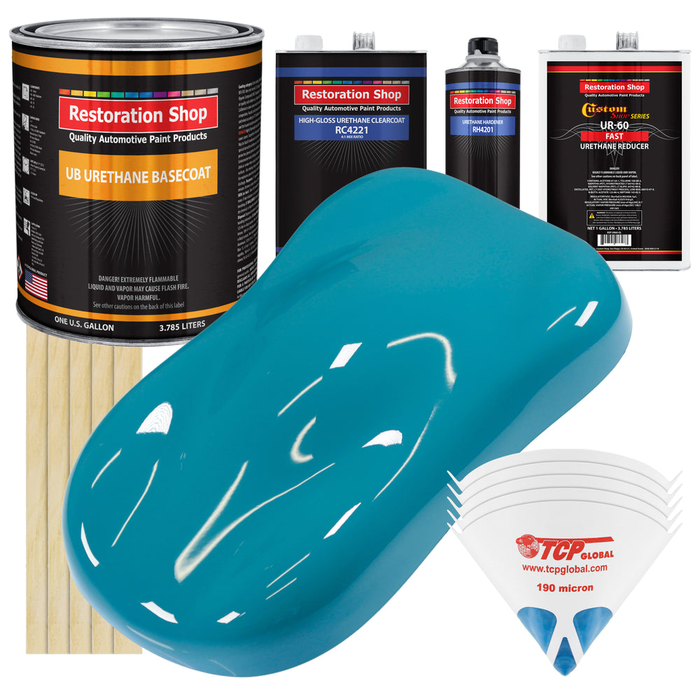 Petty Blue - Urethane Basecoat with Clearcoat Auto Paint - Complete Fast Gallon Paint Kit - Professional High Gloss Automotive, Car, Truck Coating