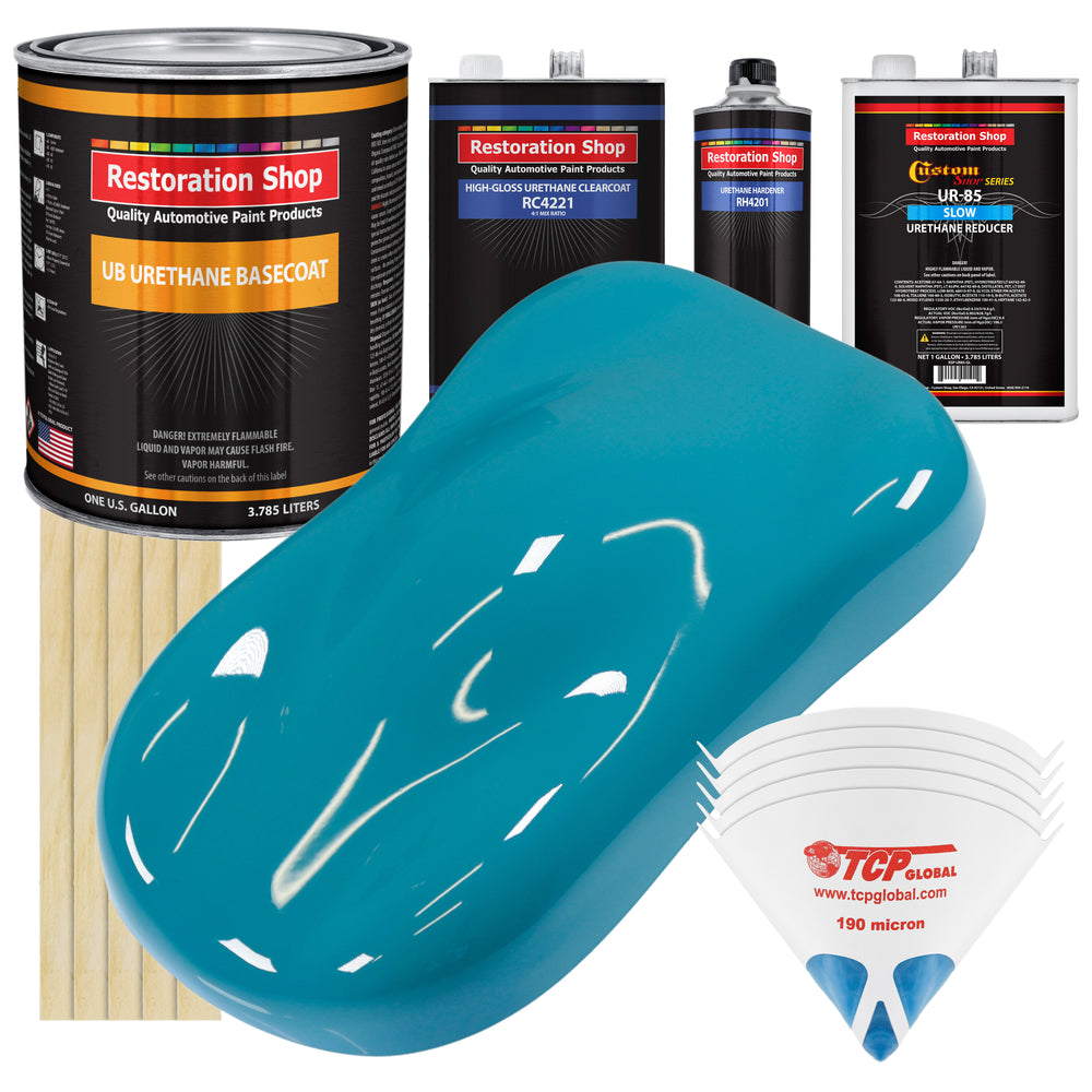 Petty Blue - Urethane Basecoat with Clearcoat Auto Paint - Complete Slow Gallon Paint Kit - Professional High Gloss Automotive, Car, Truck Coating