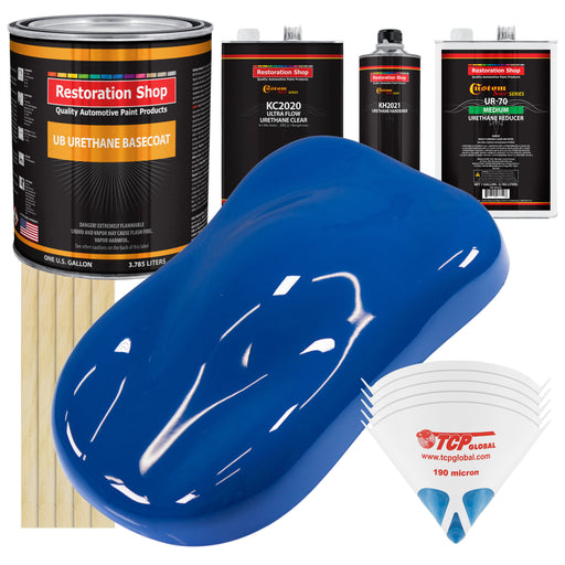Reflex Blue - Urethane Basecoat with Premium Clearcoat Auto Paint - Complete Medium Gallon Paint Kit - Professional High Gloss Automotive Coating