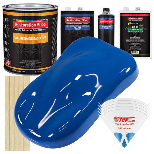 Reflex Blue - Urethane Basecoat with Clearcoat Auto Paint - Complete Medium Gallon Paint Kit - Professional High Gloss Automotive, Car, Truck Coating