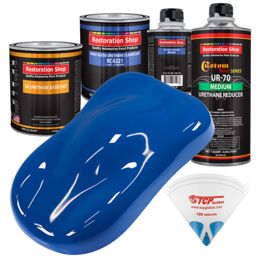 Reflex Blue - Urethane Basecoat with Clearcoat Auto Paint - Complete Medium Quart Paint Kit - Professional High Gloss Automotive, Car, Truck Coating