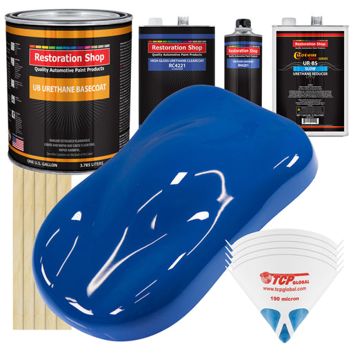 Reflex Blue - Urethane Basecoat with Clearcoat Auto Paint - Complete Slow Gallon Paint Kit - Professional High Gloss Automotive, Car, Truck Coating