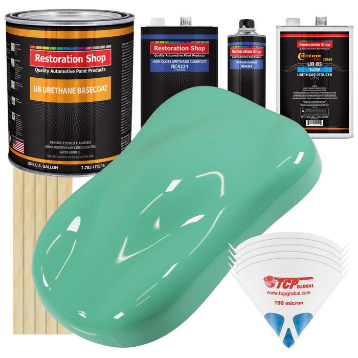 Light Aqua - Urethane Basecoat with Clearcoat Auto Paint - Complete Slow Gallon Paint Kit - Professional High Gloss Automotive, Car, Truck Coating