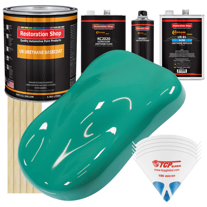 Tropical Turquoise - Urethane Basecoat with Premium Clearcoat Auto Paint - Complete Slow Gallon Paint Kit - Professional High Gloss Automotive Coating
