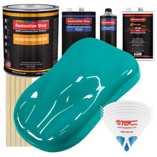 Deep Aqua - Urethane Basecoat with Clearcoat Auto Paint - Complete Fast Gallon Paint Kit - Professional High Gloss Automotive, Car, Truck Coating
