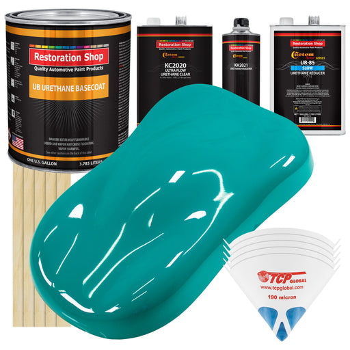 Deep Aqua - Urethane Basecoat with Premium Clearcoat Auto Paint - Complete Slow Gallon Paint Kit - Professional High Gloss Automotive Coating