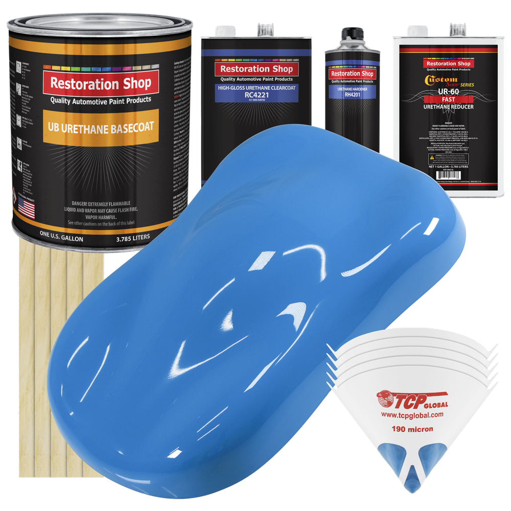 Grabber Blue - Urethane Basecoat with Clearcoat Auto Paint - Complete Fast Gallon Paint Kit - Professional High Gloss Automotive, Car, Truck Coating