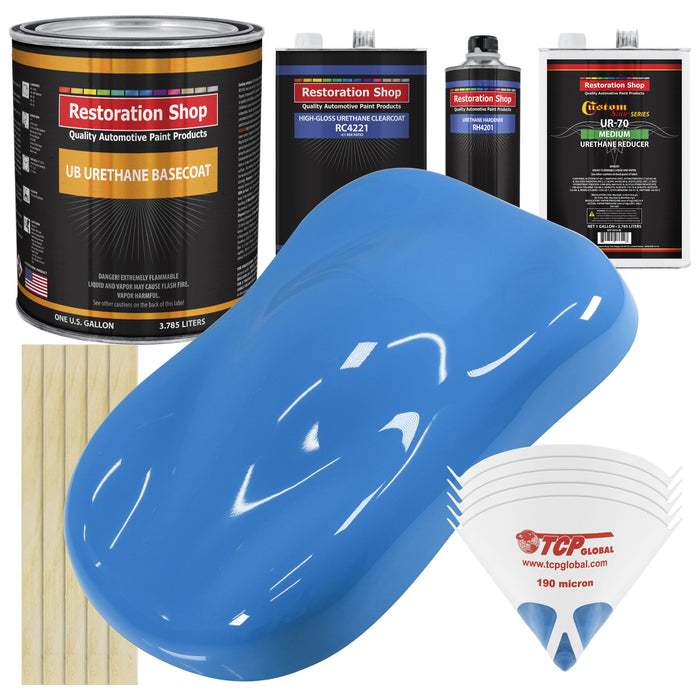 Grabber Blue - Urethane Basecoat with Clearcoat Auto Paint - Complete Medium Gallon Paint Kit - Professional High Gloss Automotive, Car, Truck Coating