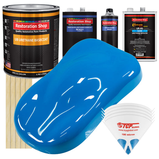 Coastal Highway Blue - Urethane Basecoat with Clearcoat Auto Paint - Complete Slow Gallon Paint Kit - Professional High Gloss Automotive, Car, Truck Coating