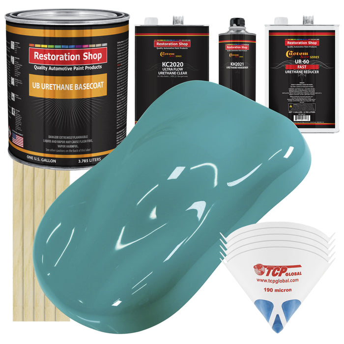 Bright Racing Aqua - Urethane Basecoat with Premium Clearcoat Auto Paint - Complete Fast Gallon Paint Kit - Professional High Gloss Automotive Coating