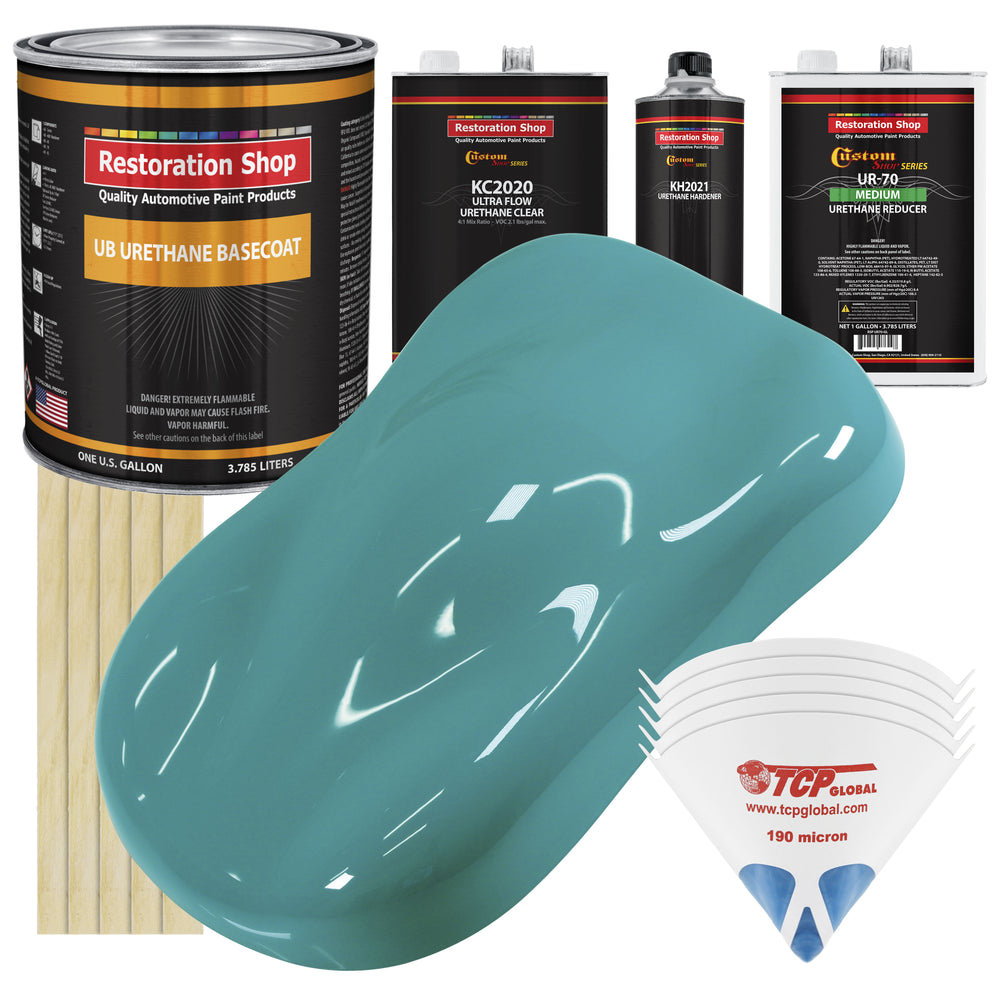 Bright Racing Aqua - Urethane Basecoat with Premium Clearcoat Auto Paint - Complete Medium Gallon Paint Kit - Professional High Gloss Automotive Coating