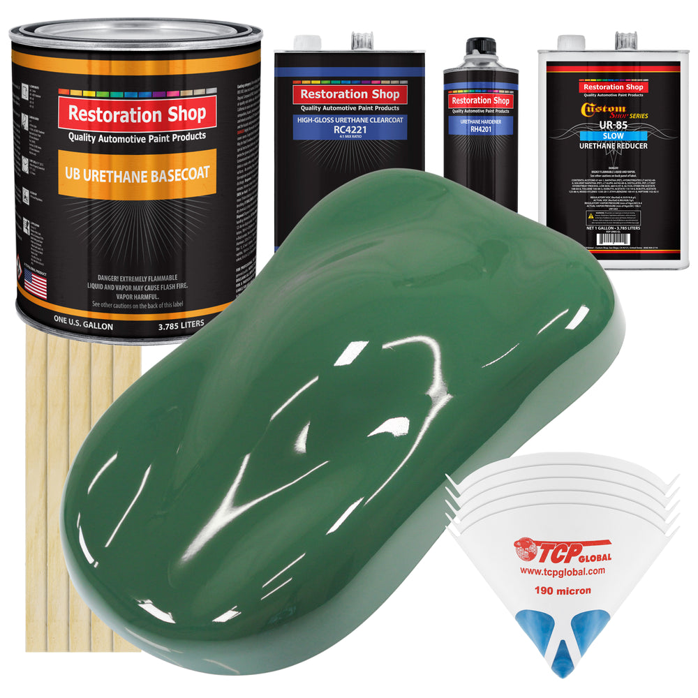 Transport Green - Urethane Basecoat with Clearcoat Auto Paint - Complete Slow Gallon Paint Kit - Professional High Gloss Automotive, Car, Truck Coating