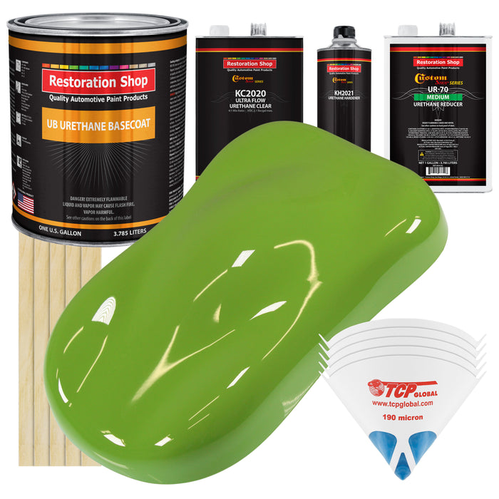 Sublime Green - Urethane Basecoat with Premium Clearcoat Auto Paint - Complete Medium Gallon Paint Kit - Professional High Gloss Automotive Coating
