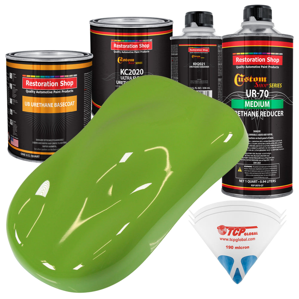 Sublime Green - Urethane Basecoat with Premium Clearcoat Auto Paint - Complete Medium Quart Paint Kit - Professional High Gloss Automotive Coating