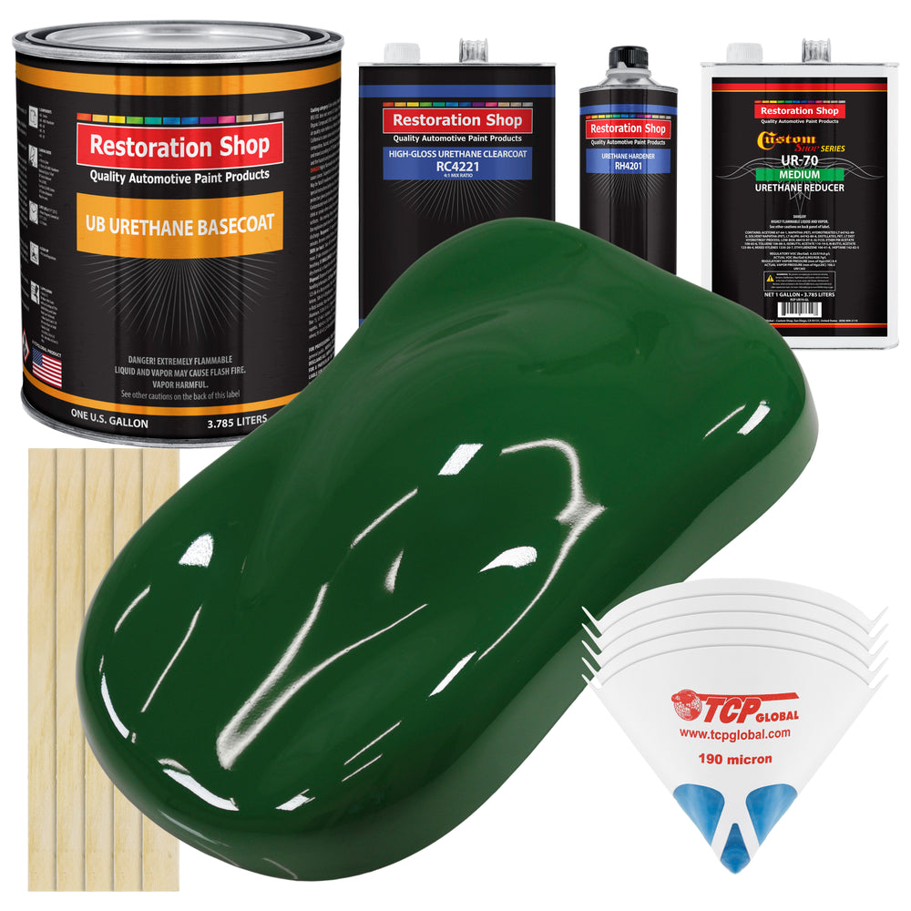 Speed Green - Urethane Basecoat with Clearcoat Auto Paint - Complete Medium Gallon Paint Kit - Professional High Gloss Automotive, Car, Truck Coating