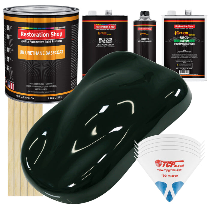 Rock Moss Green - Urethane Basecoat with Premium Clearcoat Auto Paint - Complete Medium Gallon Paint Kit - Professional High Gloss Automotive Coating