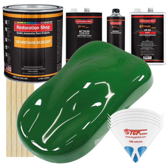 Emerald Green - Urethane Basecoat with Premium Clearcoat Auto Paint - Complete Fast Gallon Paint Kit - Professional High Gloss Automotive Coating