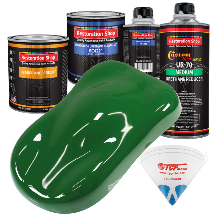 Emerald Green - Urethane Basecoat with Clearcoat Auto Paint - Complete Medium Quart Paint Kit - Professional High Gloss Automotive, Car, Truck Coating