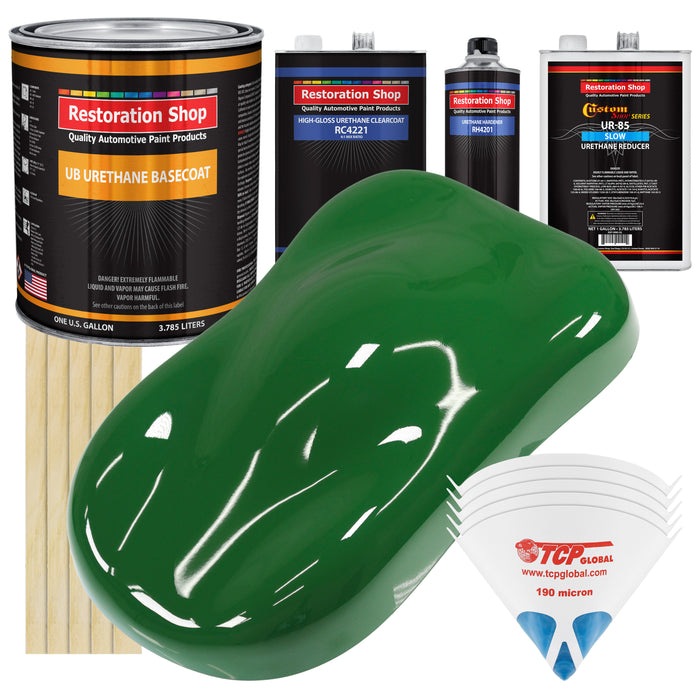Emerald Green - Urethane Basecoat with Clearcoat Auto Paint - Complete Slow Gallon Paint Kit - Professional High Gloss Automotive, Car, Truck Coating