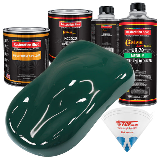 Woodland Green - Urethane Basecoat with Premium Clearcoat Auto Paint - Complete Medium Quart Paint Kit - Professional High Gloss Automotive Coating