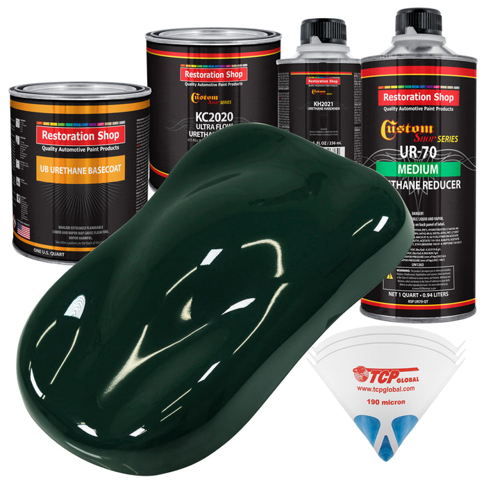 British Racing Green - Urethane Basecoat with Premium Clearcoat Auto Paint - Complete Medium Quart Paint Kit - Professional High Gloss Automotive Coating